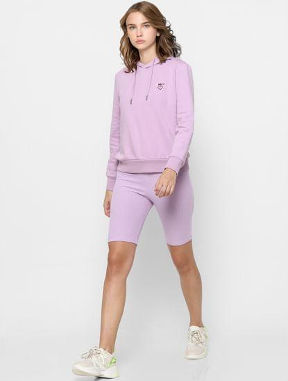 Purple Logo Print Hooded Sweatshirt