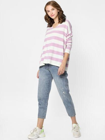 Purple Striped V Neck Pullover