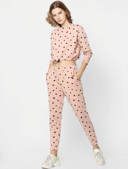 Pink Printed Co-ord Sweatpants