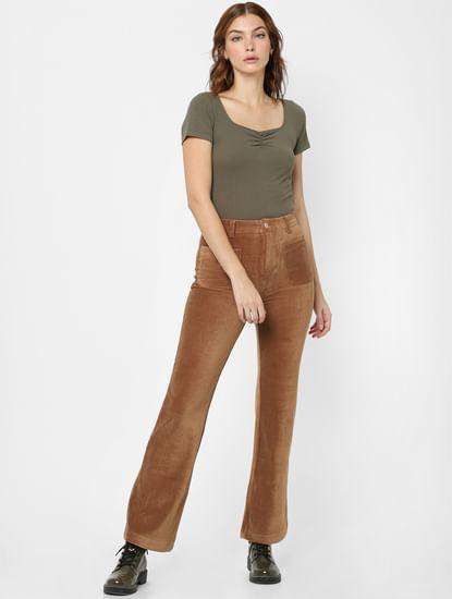 Brown Mid Rise Velvet Flared Pants
