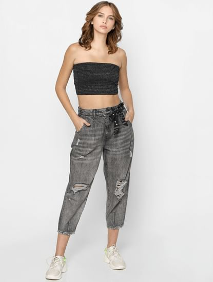 Grey Loose Fit Torn Jeans