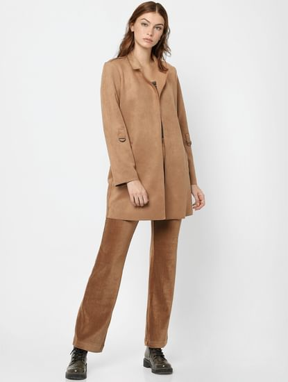 Brown Faux Suede Coat