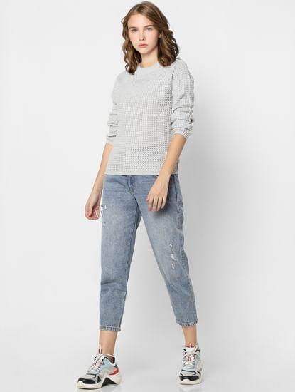 Light Grey Textured Pullover