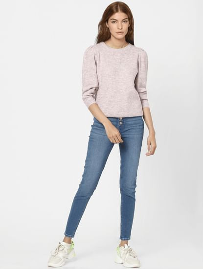 Pink Puff Sleeves Pullover