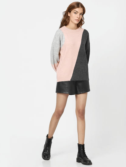 Pink Colourblocked Pullover