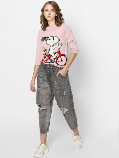 X PEANUTS Pink Snoopy Pullover