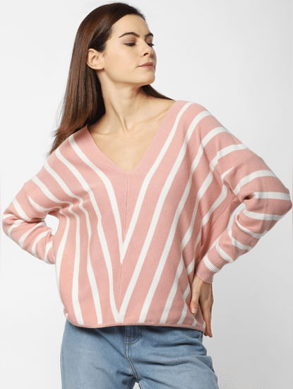 Pink Striped Loose Fit Pullover