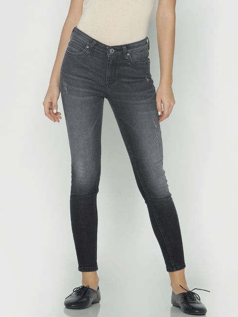 Black Mid Rise Faded Skinny Fit Jeans