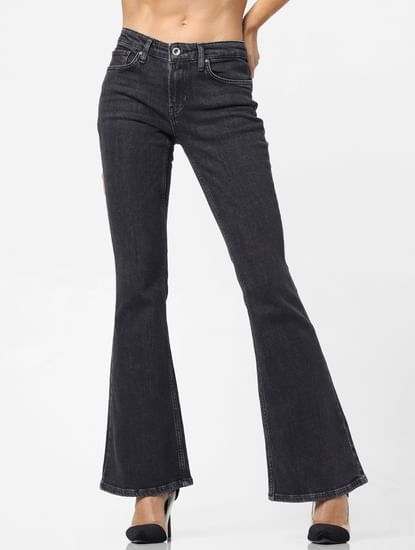 Grey Mid Rise Washed Flared Jeans