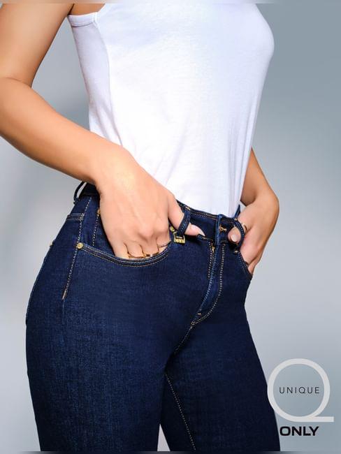 UNIQUE Dark Blue High Rise Flared Jeans
