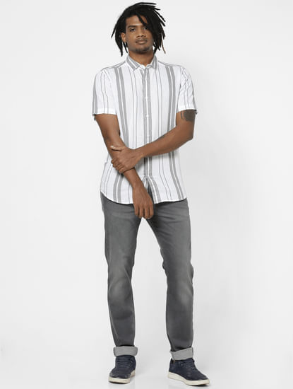Grey Striped Half Sleeves Shirt
