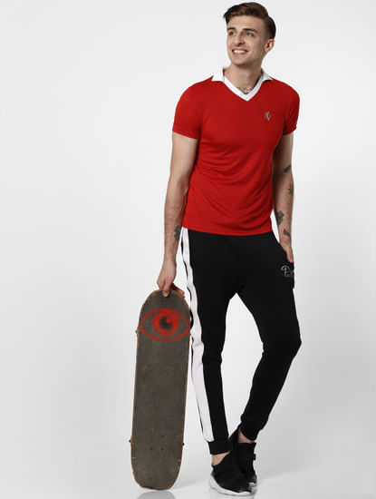 Red Contrast Tipping V Neck T-Shirt