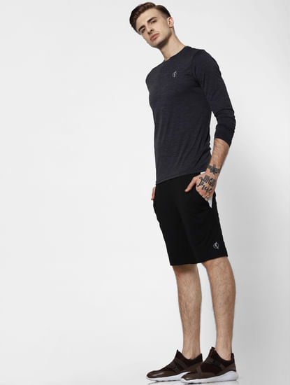 Black Colourblocked Sweatshorts