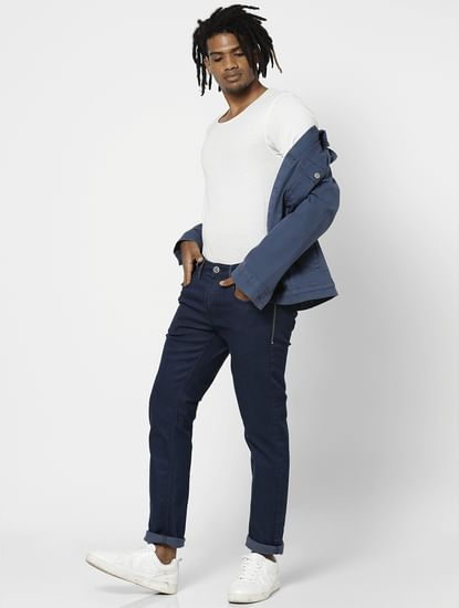Blue Mid Rise Dark Washed Slim Fit Jeans