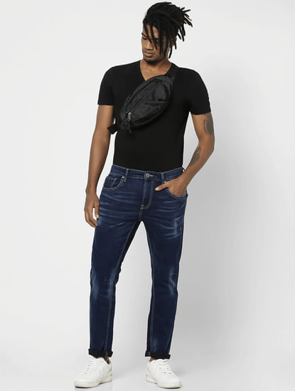 Dark Blue Mid Rise Mildly Faded Skinny Jeans