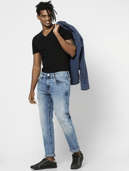 Blue Mid Rise Heavily Washed Slim Jeans