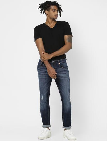 Dark Blue Mid Rise Distressed Slim Fit Jeans