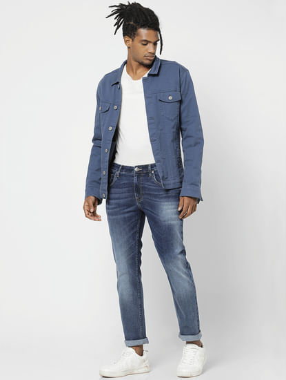 Blue Mid Rise Mildly Washed Slim Fit Jeans