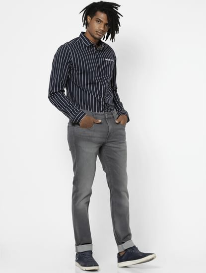 Grey Mid Rise Washed Slim Fit Jeans