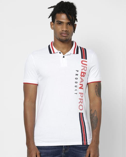 White Logo Print Polo Neck T-shirt