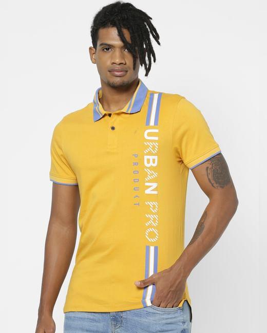 Yellow Logo Print Polo Neck T-shirt
