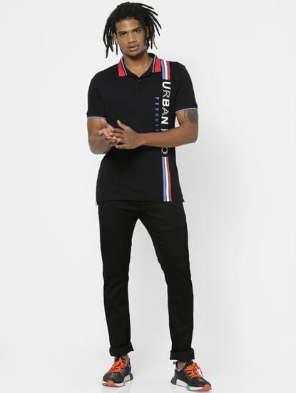 Black Logo Print Polo Neck T-shirt