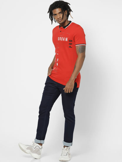 Red Typographic Print Polo Neck T-shirt