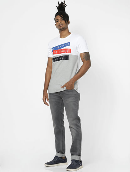 White Tape Slogan Print Crew Neck T-shirt