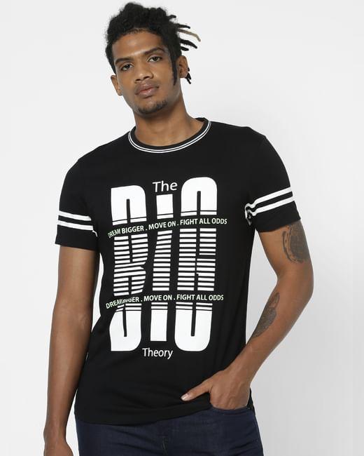 Black Slogan Print Crew Neck T-shirt