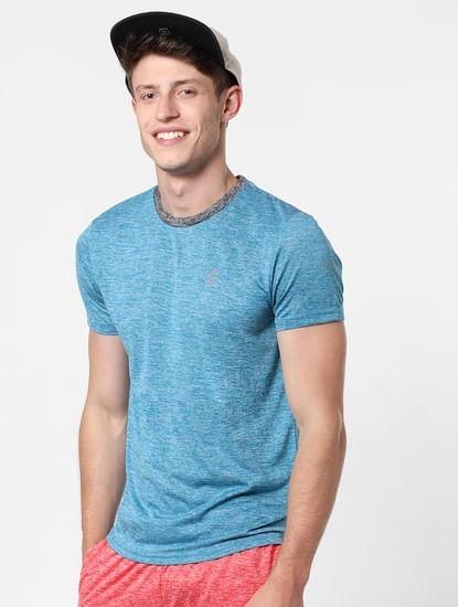 Blue Contrast Collar Crew Neck T-Shirt