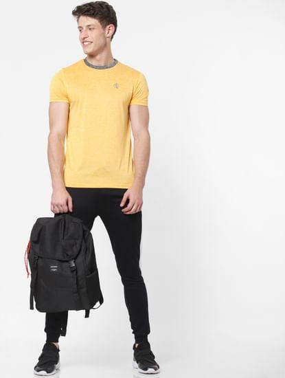 Yellow Contrast Collar Crew Neck T-Shirt