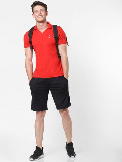 Red Logo Print V Neck T-Shirt