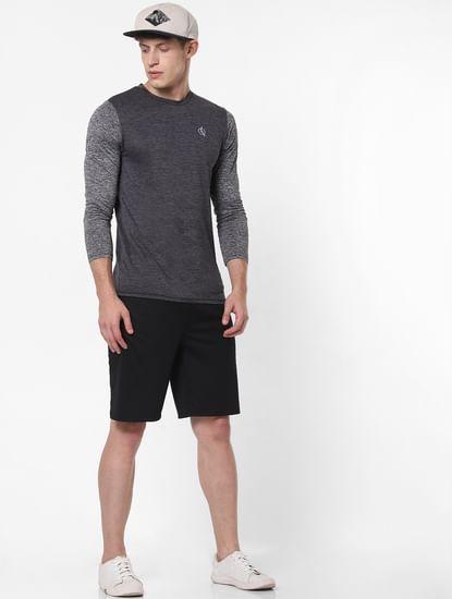 Grey Colourblocked Crew Neck T-Shirt