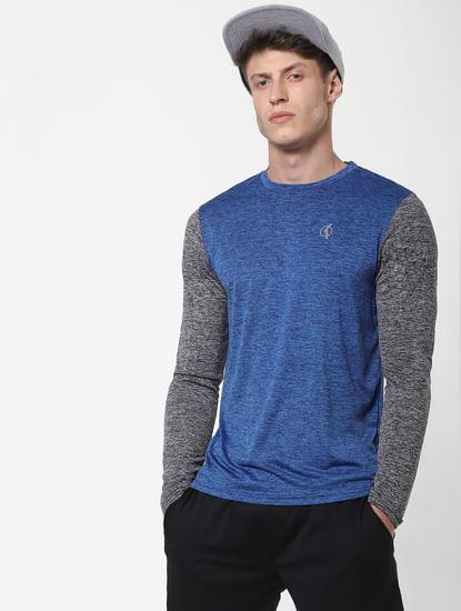 Blue Colourblocked Crew Neck T-Shirt