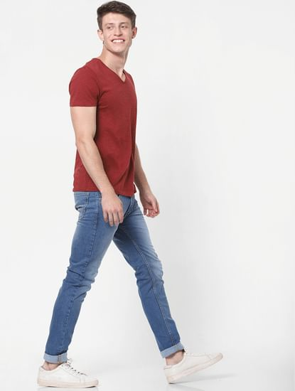 Blue Low Rise Skinny Fit Jeans