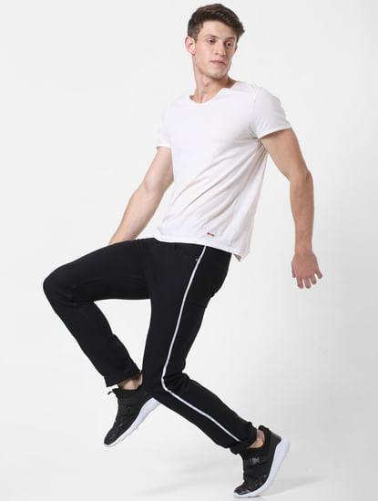 Black Low Rise Tape Detail Skinny Jeans