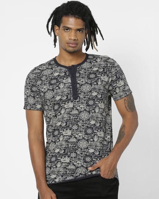 Navy Blue All Over Print Henley T-shirt