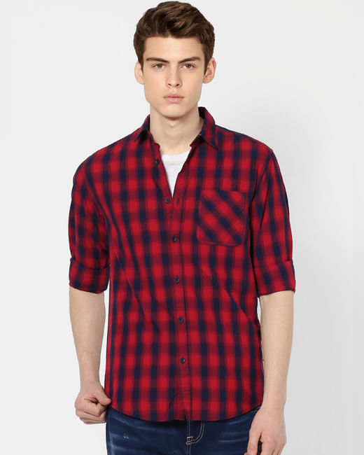 Red Full Sleeves Check Shirt