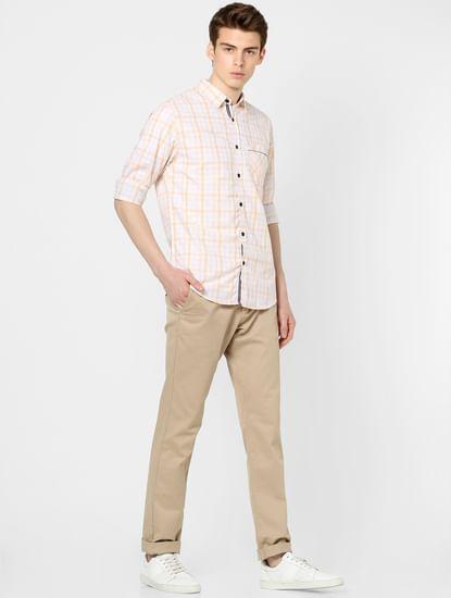 Pastel Yellow Full Sleeves Check Shirt