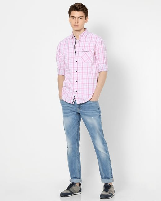 Light Pink Check Full Sleeves Shirt