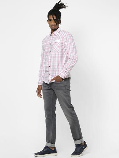 Light Pink Check Full Sleeves Shirt