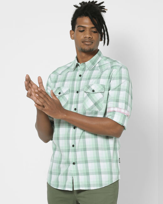 Light Green Check Full Sleeves Shirt