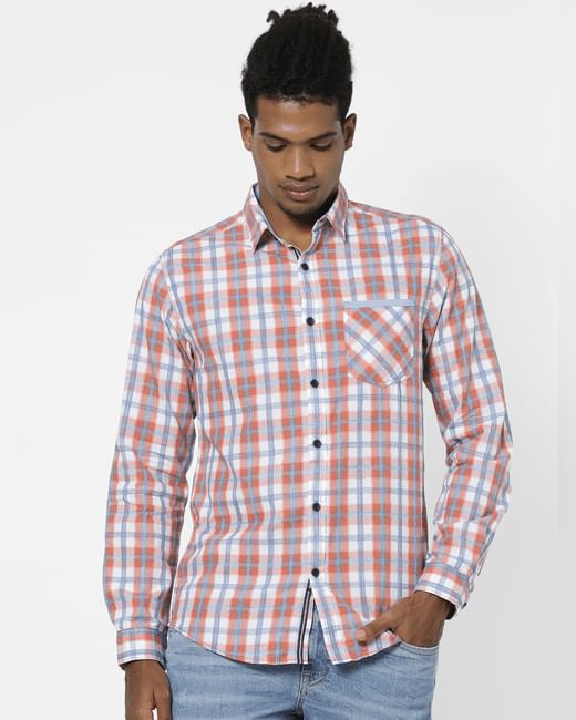 Orange Check Full Sleeves Shirt