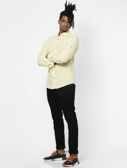 Pastel Yellow Full Sleeves Shirt