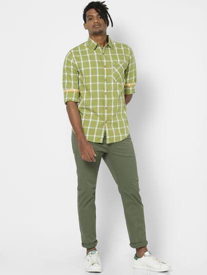 Light Green Check Full Sleeves Shirt