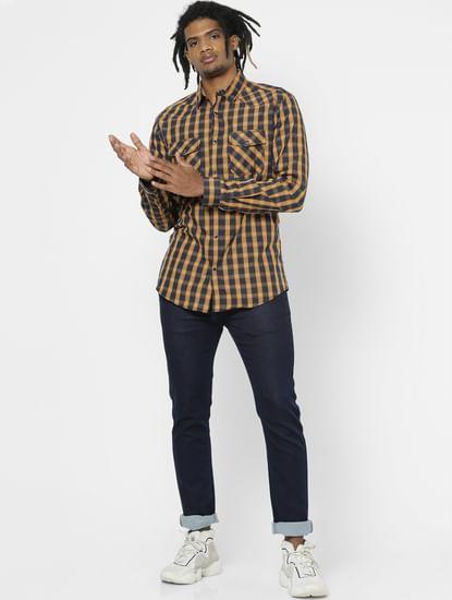 Yellow Full Sleeves Check Shirt