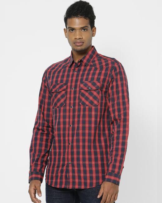 Red Full Sleeves Check Shirt