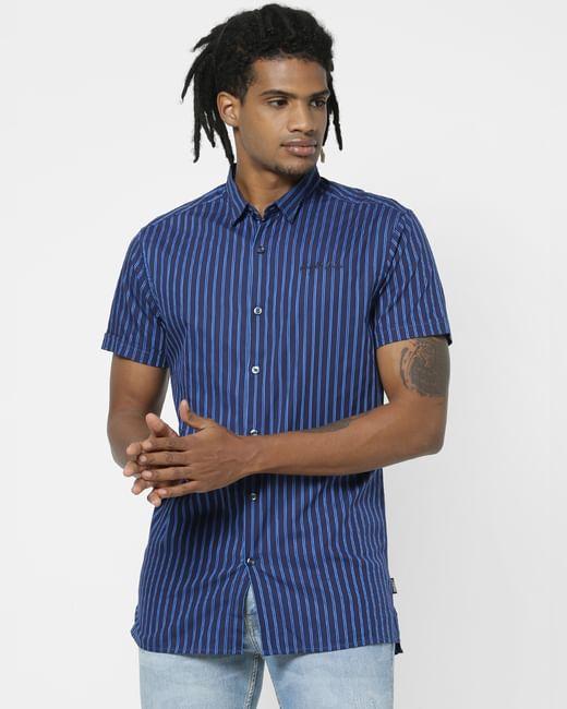 Dark Blue Striped Half Sleeves Shirt