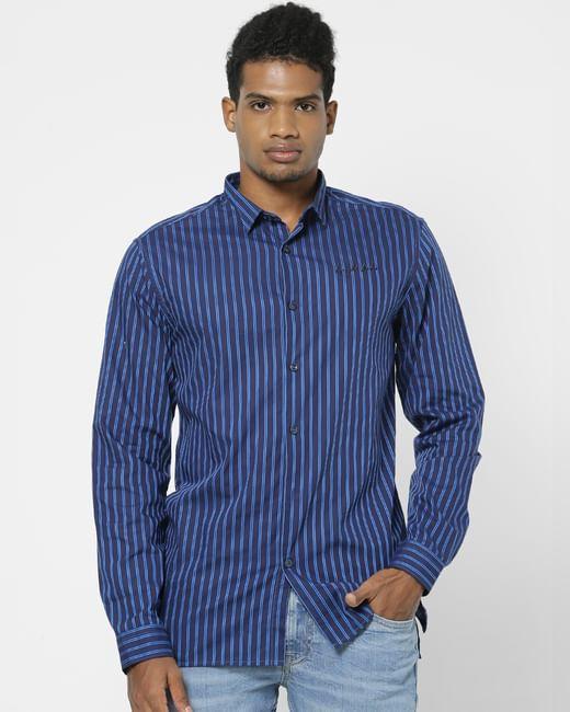 Navy Blue Striped Full Sleeves Shirt