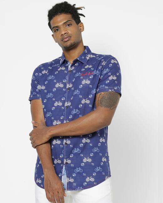 Blue All Over Print Half Sleeves Shirt